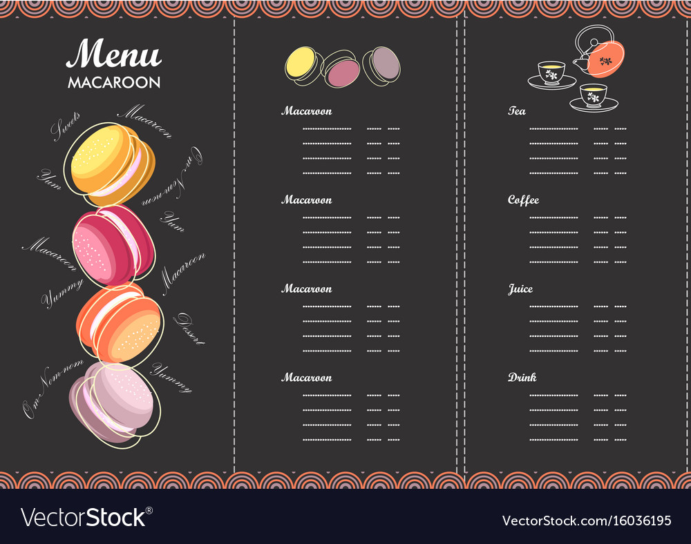 Menu design template dessert