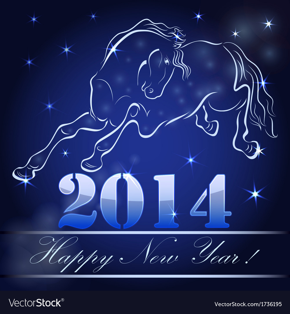 New 2014 year card with horse outline