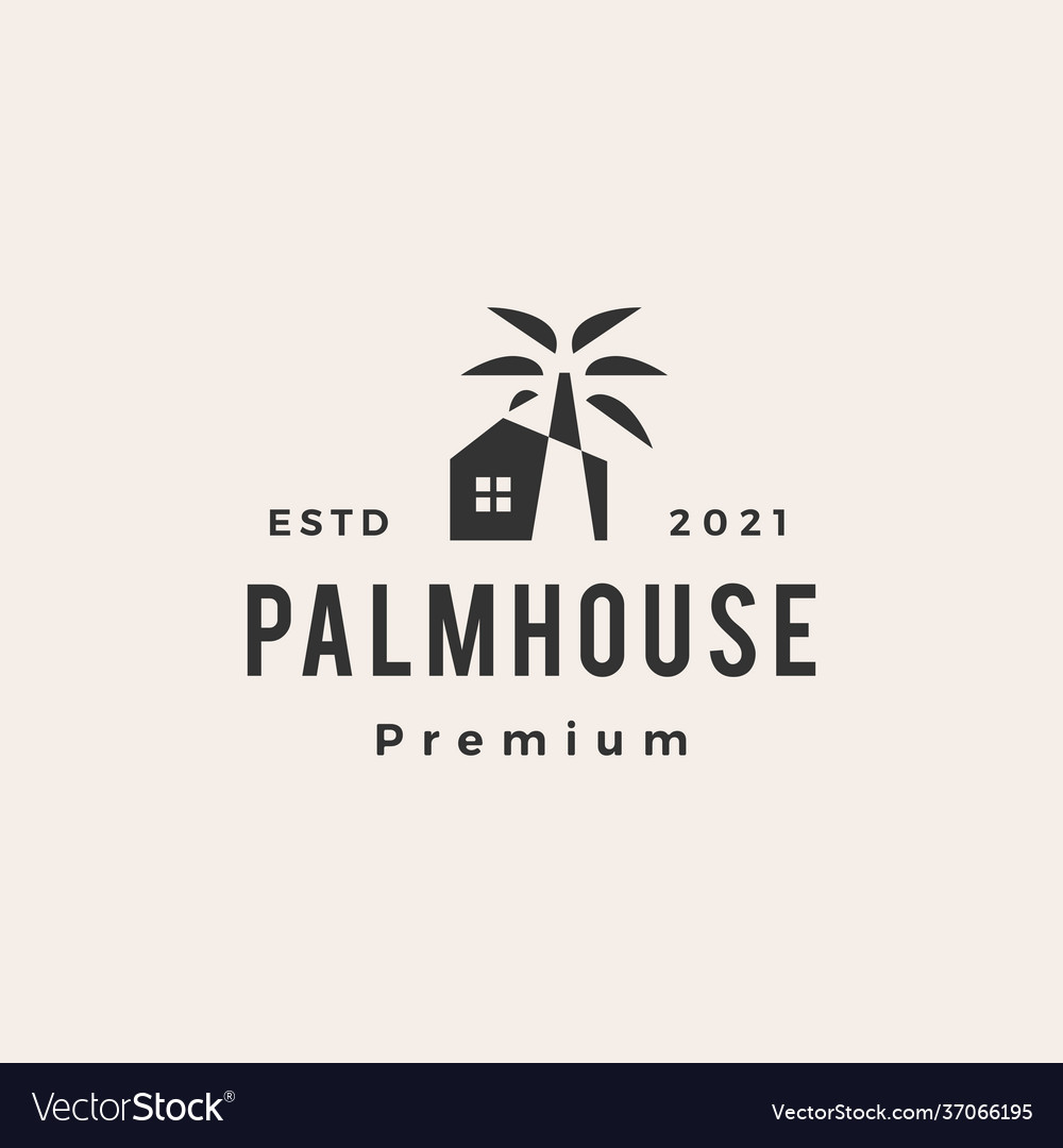 Palm tree house hipster vintage logo icon