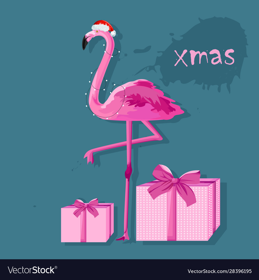 Pink flamingo with white fairy lights and gift