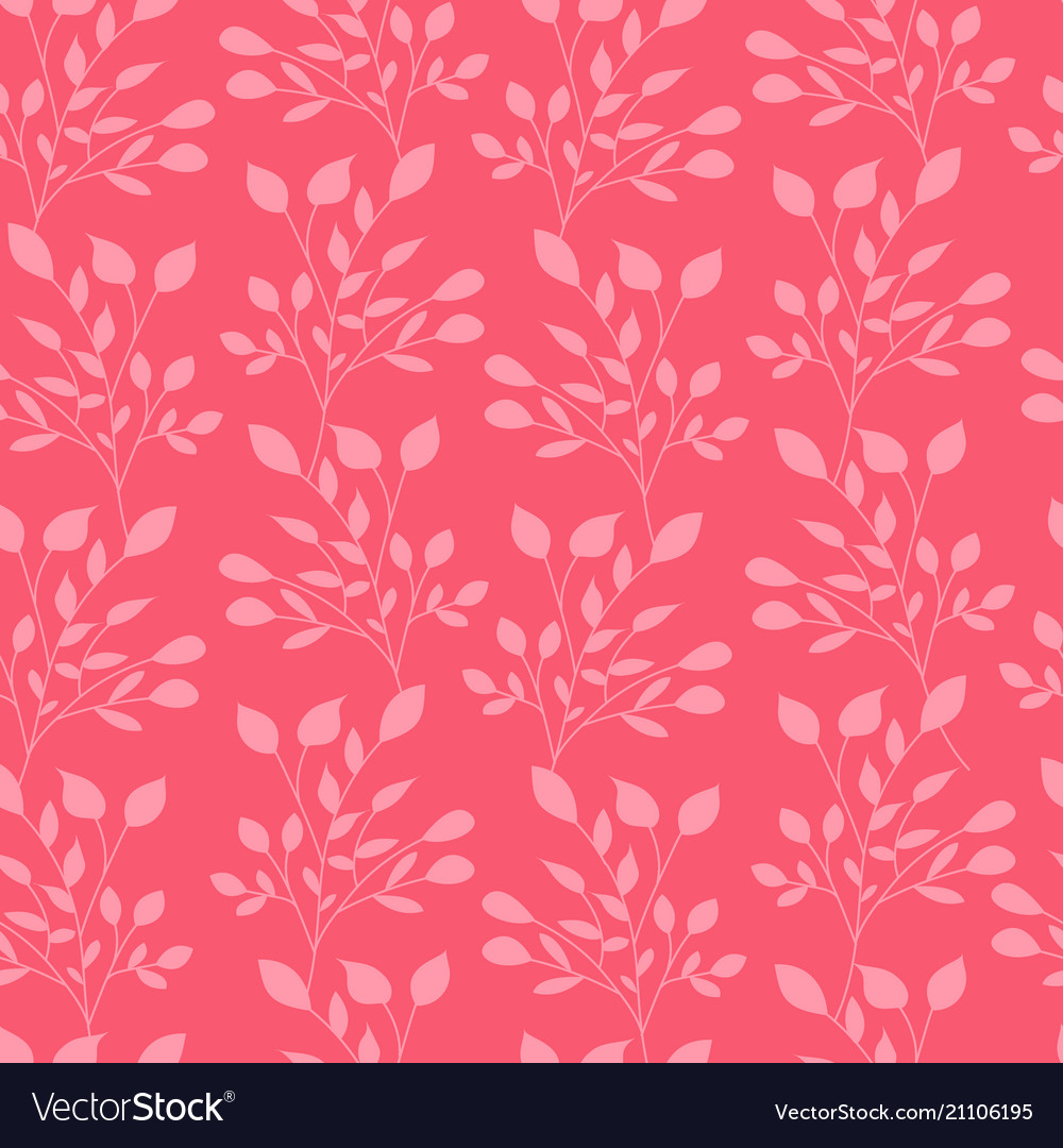Pink leaves seamless pattern flat template vector image