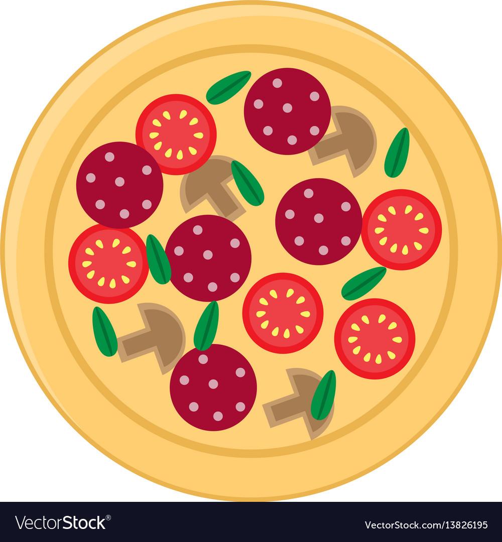 Pizza flat icons isolated on white background
