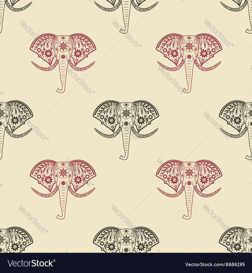 Seamless pattern with elephant heads