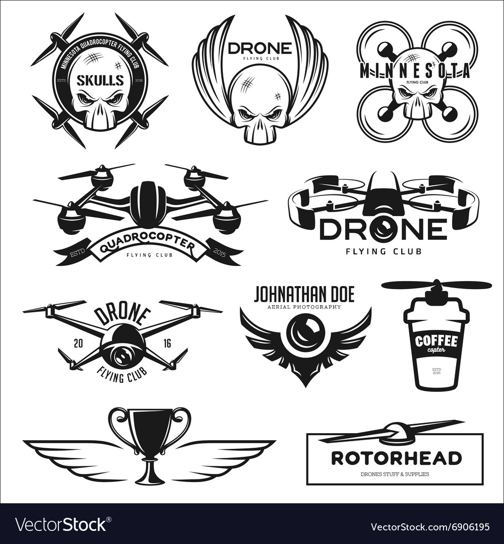 Set of drone flying club labels badges