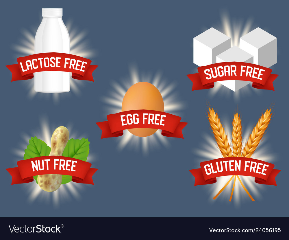Set of labels for allergen free products
