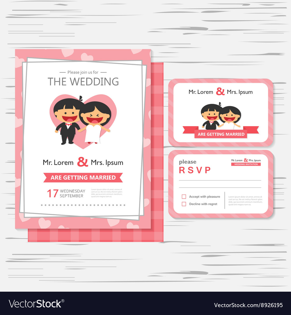 Wedding Invitation Template Cartoon Design