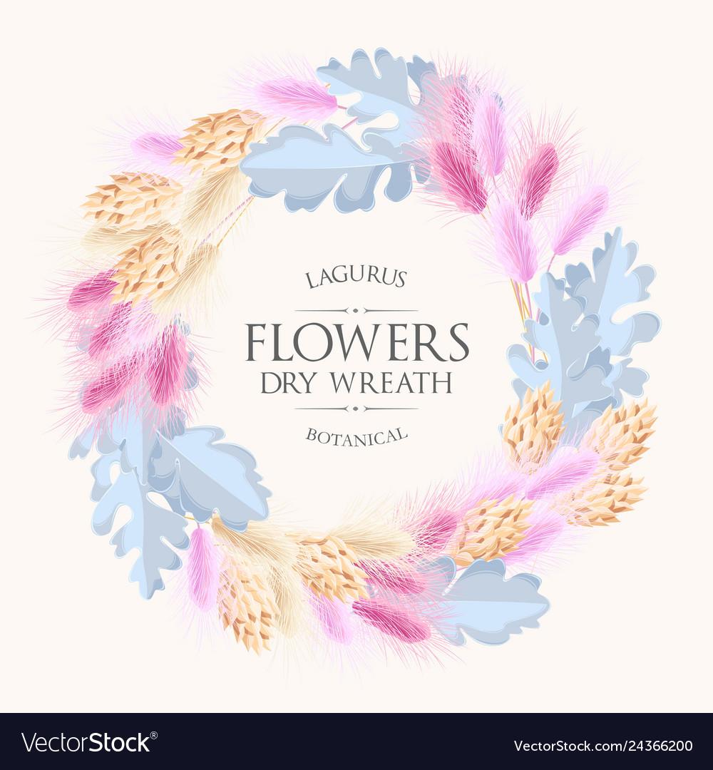 Card with lagurus and dry flowers wreath