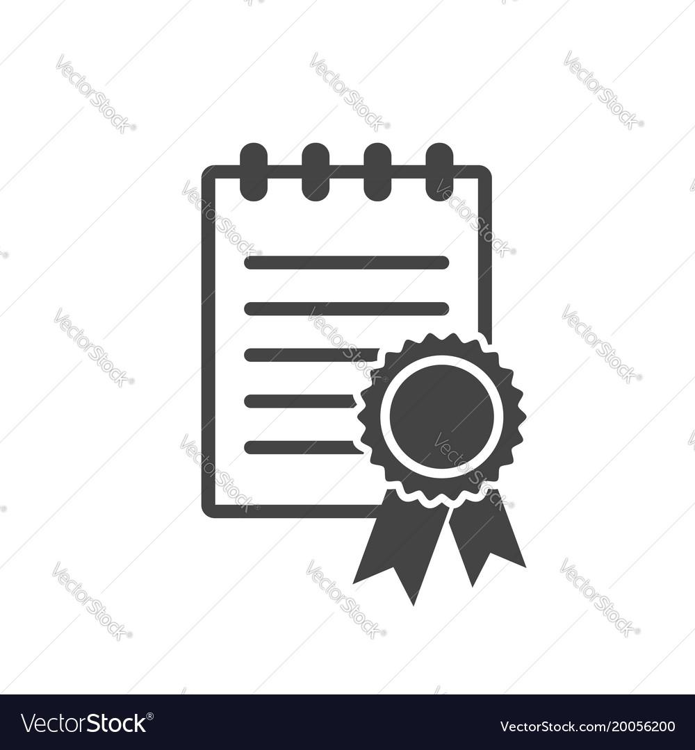 Certificate icon diploma symbol flat on white