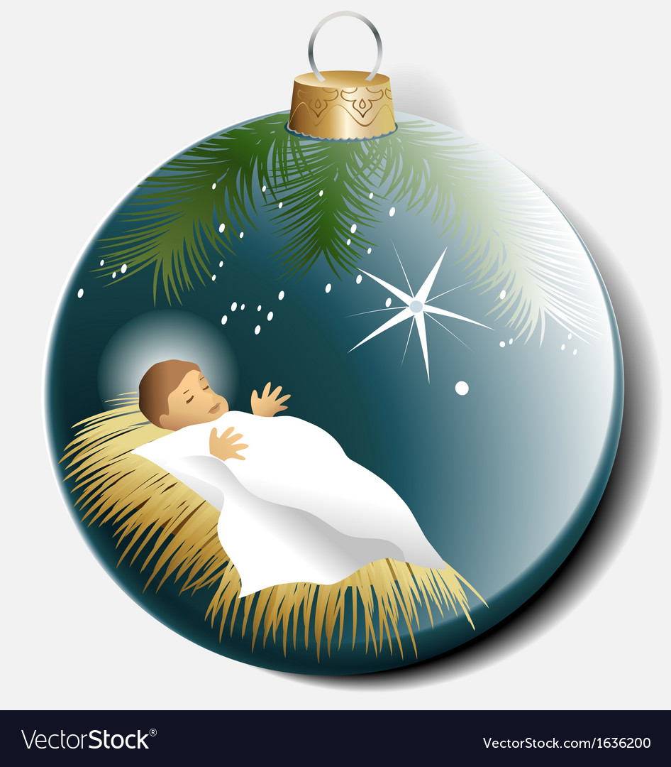 Christmas ball with baby Jesus Royalty Free Vector Image