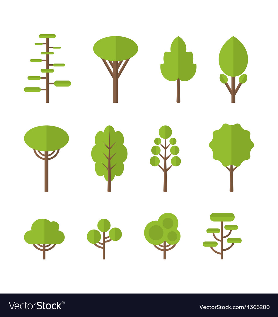 Collection set flat icons tree garden bush