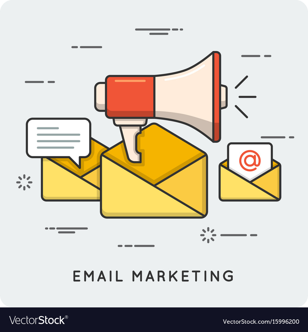 Email marketing thin line concept