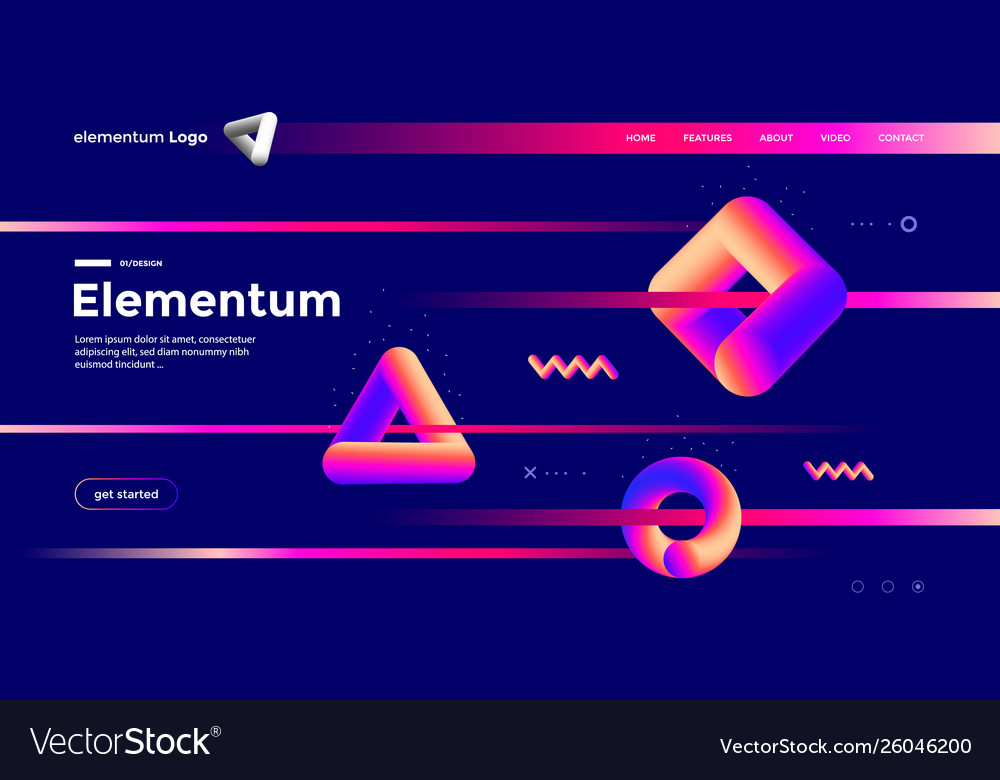 Geometric shapes composition design with gradient