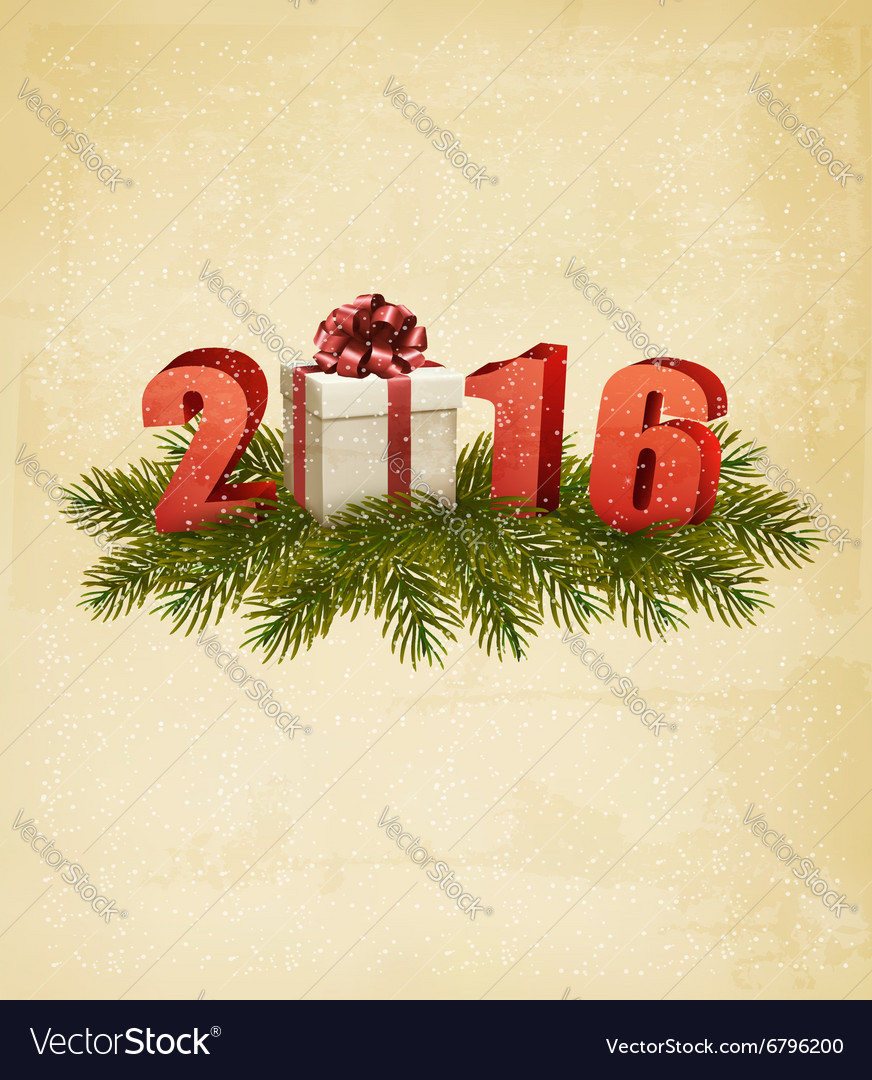 Holiday background with gift box and 2016
