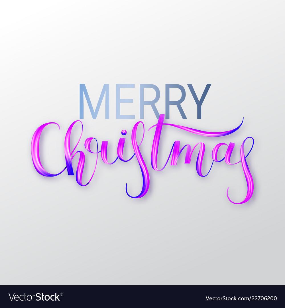 Merry christmas oil paint brush lettering