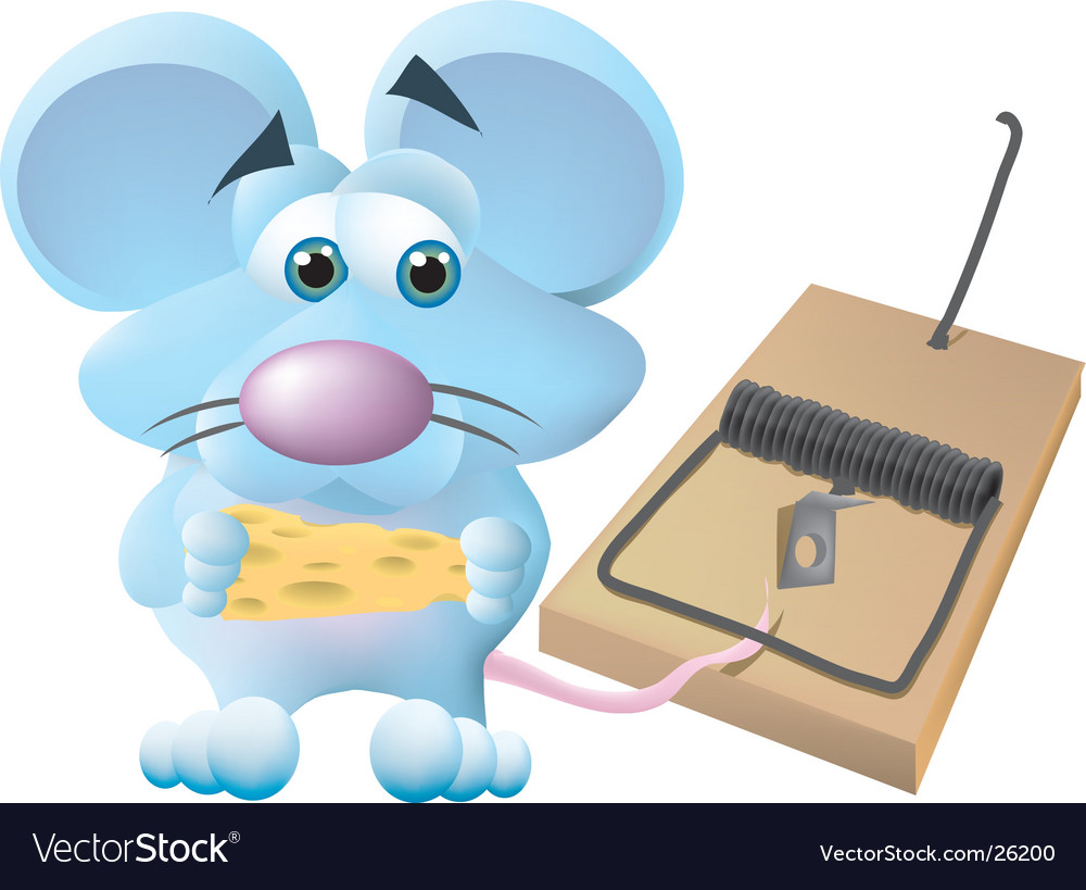 Mouse caught in trap vector image