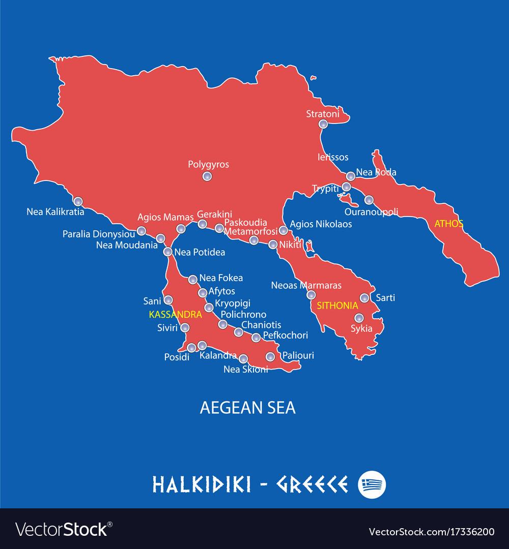 Peninsula of halkidiki in greece red map