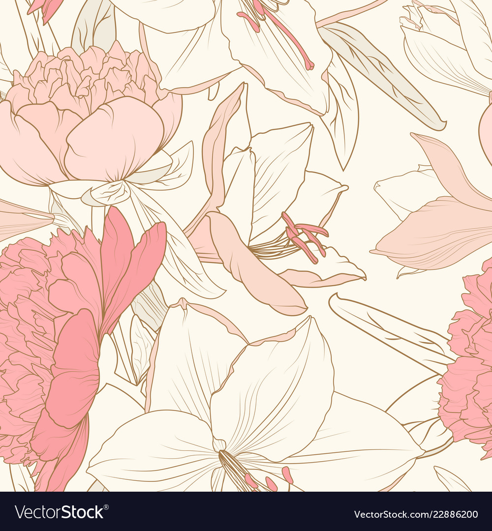Peony lily flowers composition bouquet seamless