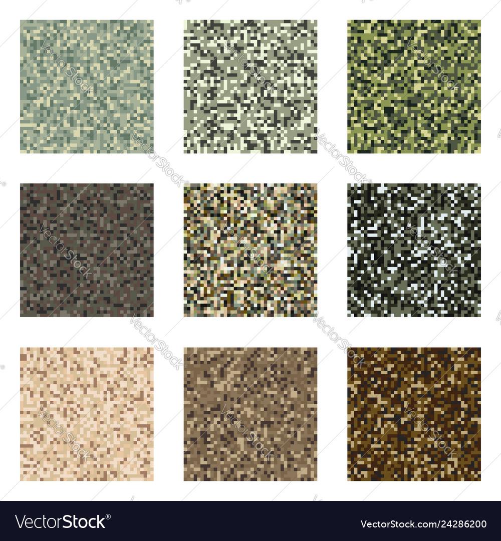 Pixel camouflage pattern set military textile