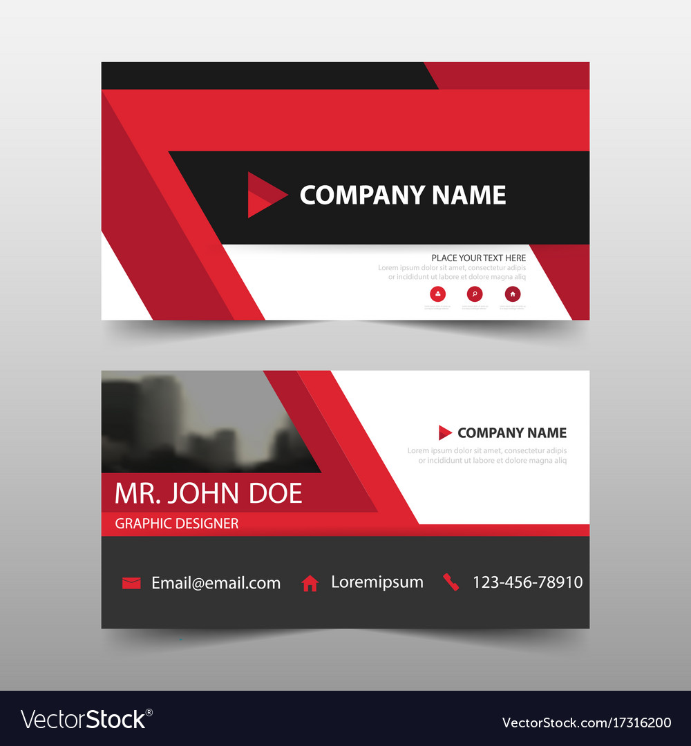 Red corporate business card name card template vector image colourmoves
