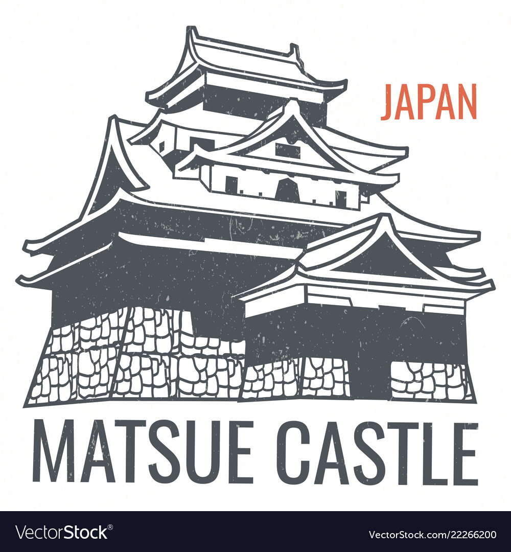 Travel poster with japanese sight castle