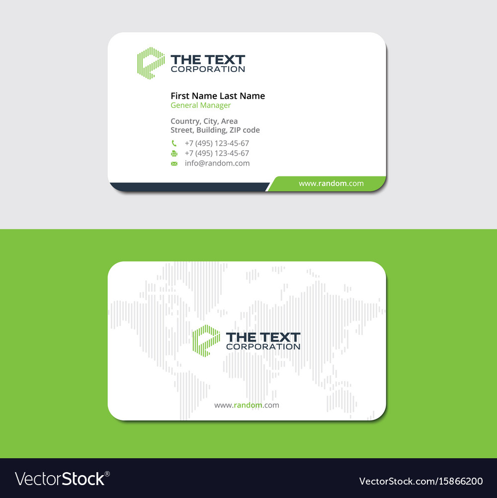 White and green business card with land map Vector Image
