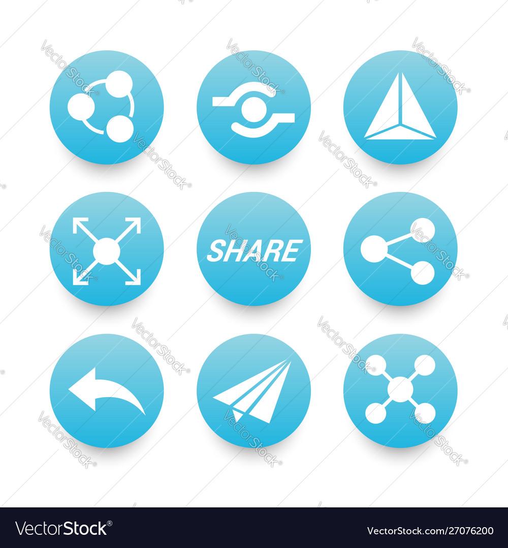 White sharing icons set
