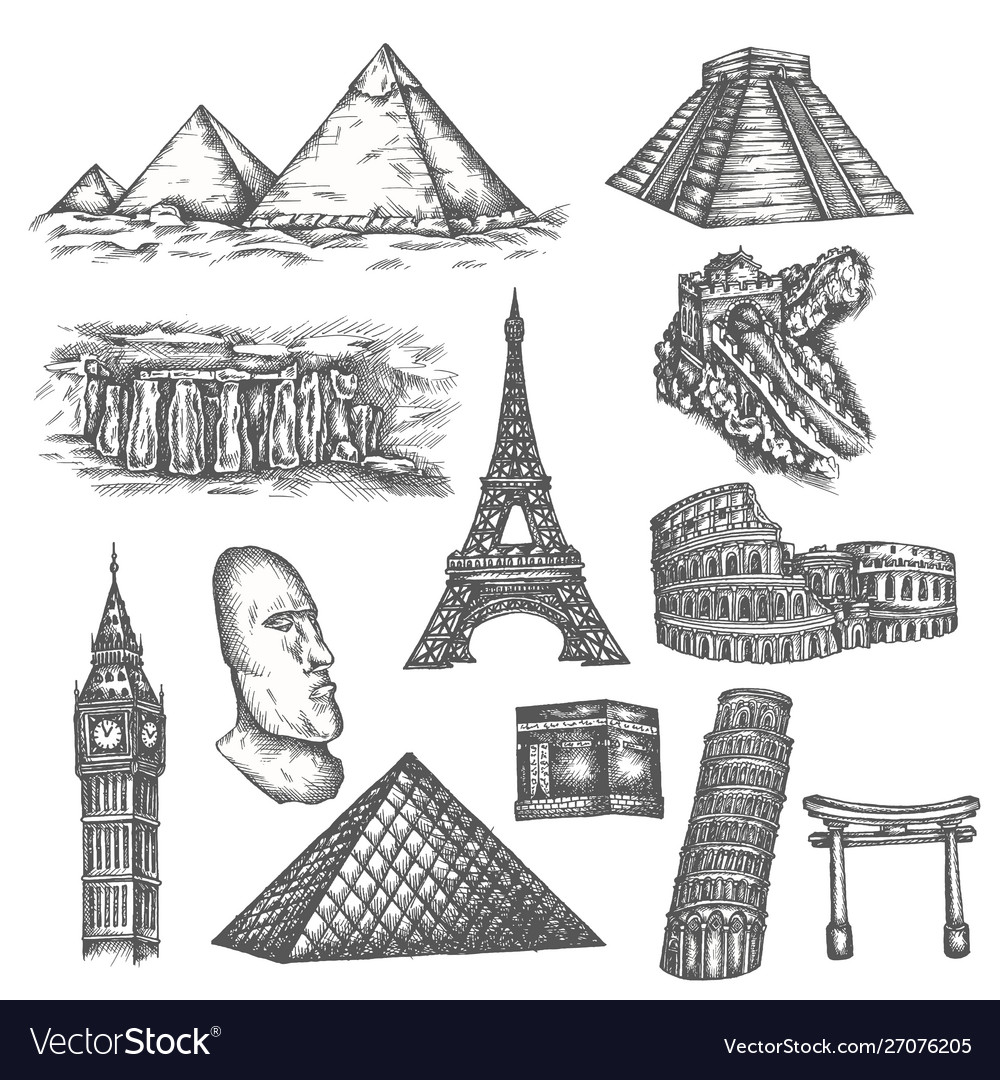 Attractions world in sketch style famous