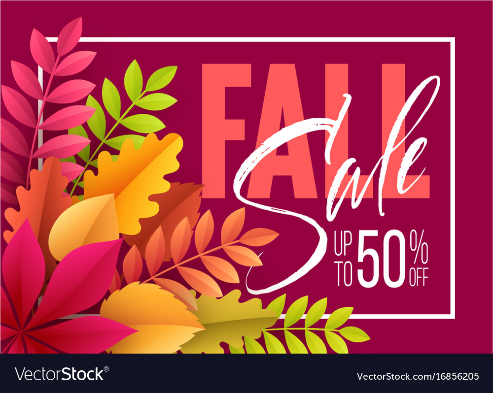 Autumn sale background with fall leaves