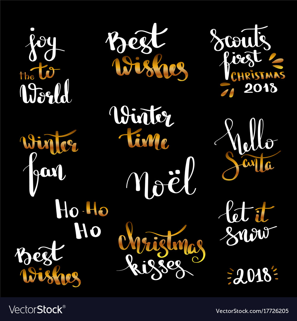 Christmas hand drawn lettering design set