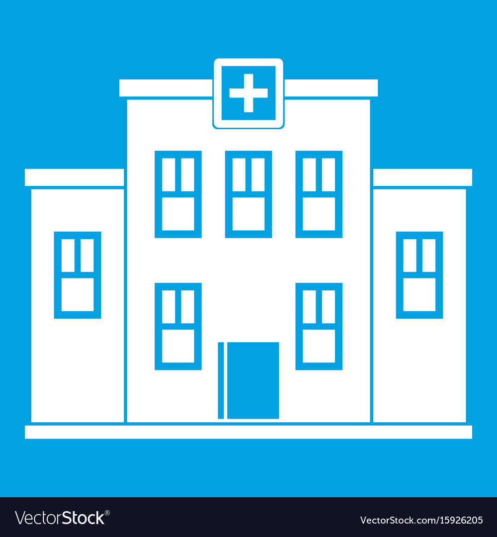 City hospital building icon white vector image
