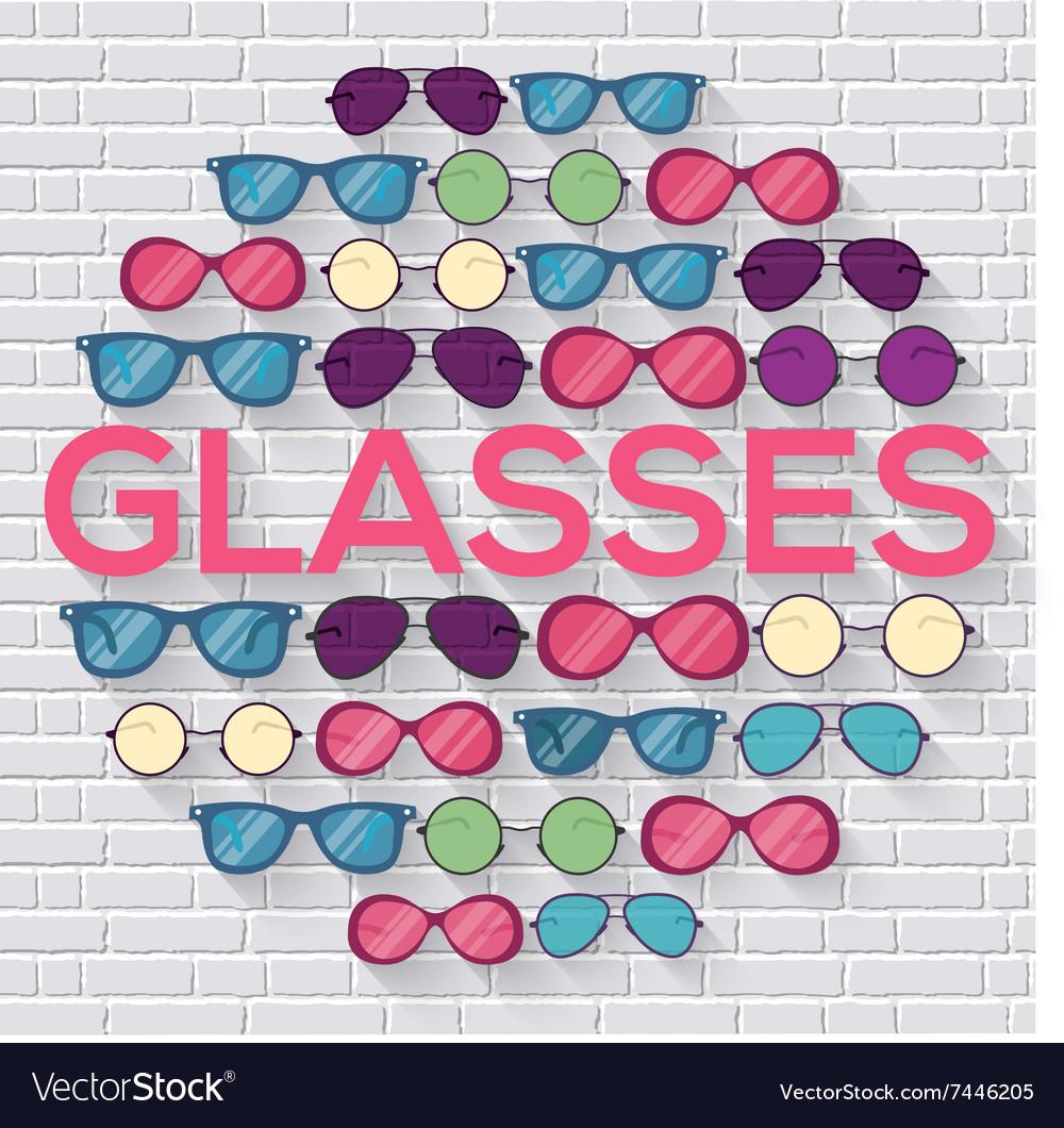 Colorful glasses on brick wall circle infographics