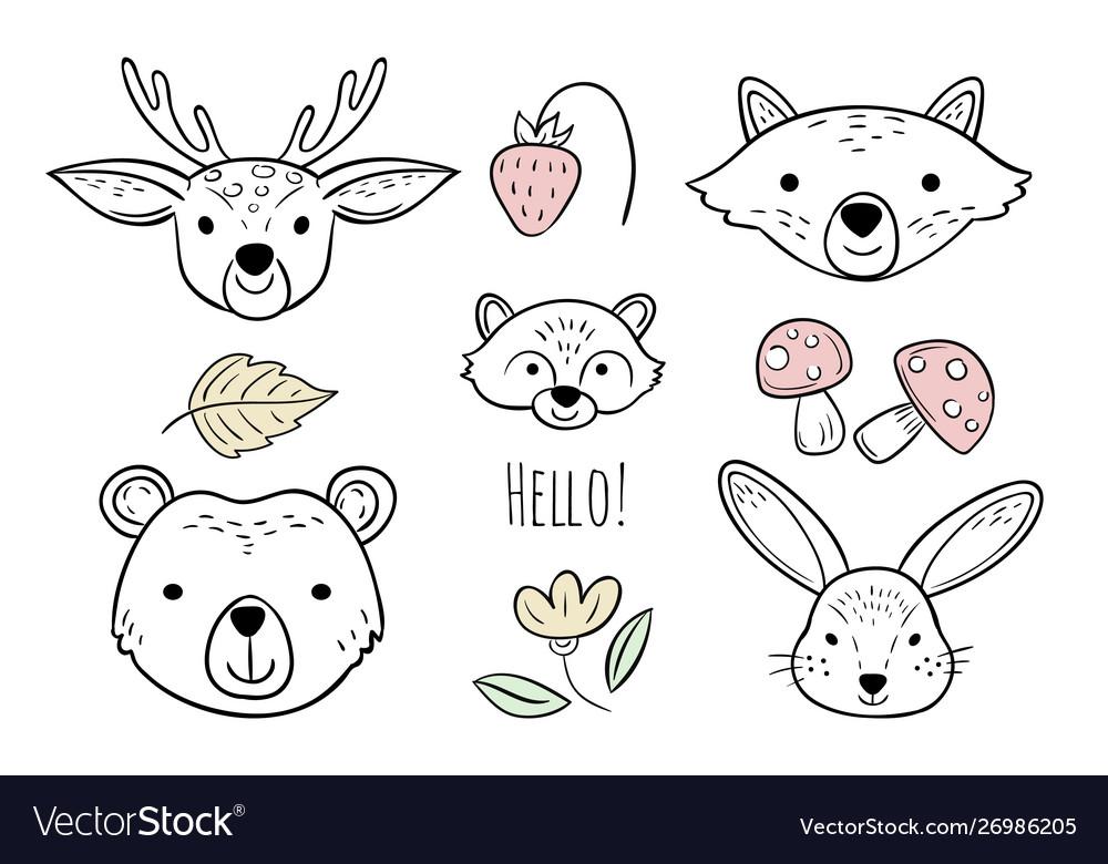 Doodle animals head nursery scandinavian