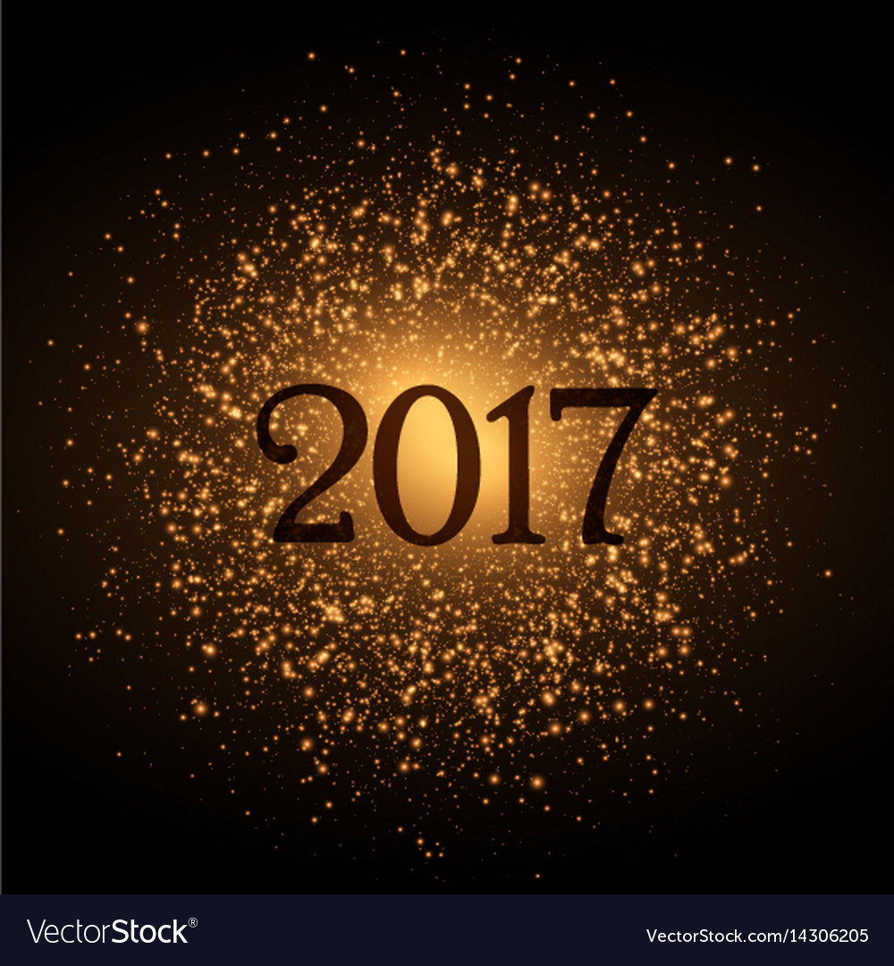Golden Glitter Background For 2017 New Year Eve Vector Image