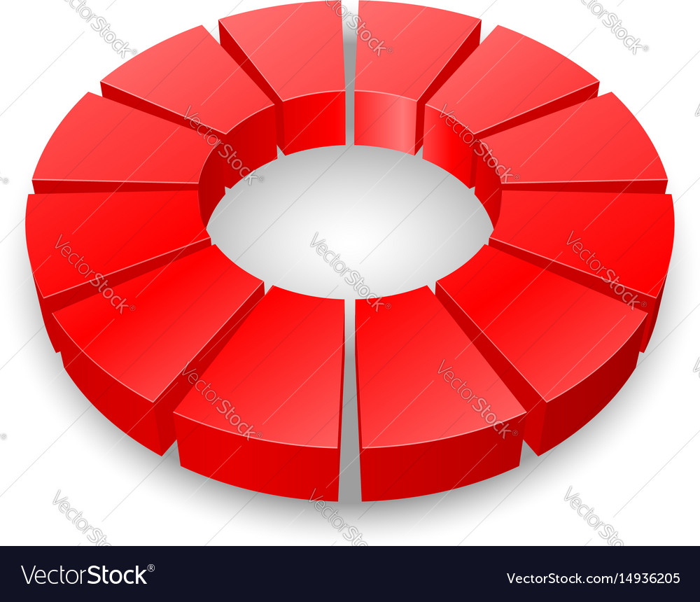 Red circular diagram isolated on white background