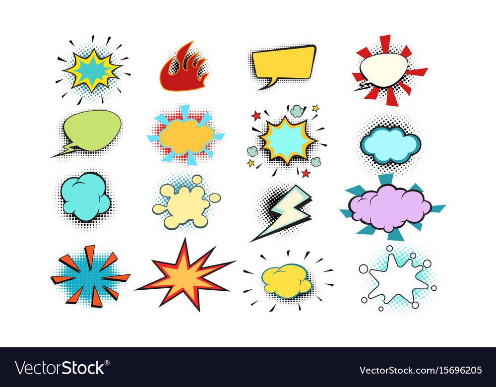 Set colored comic bubbles