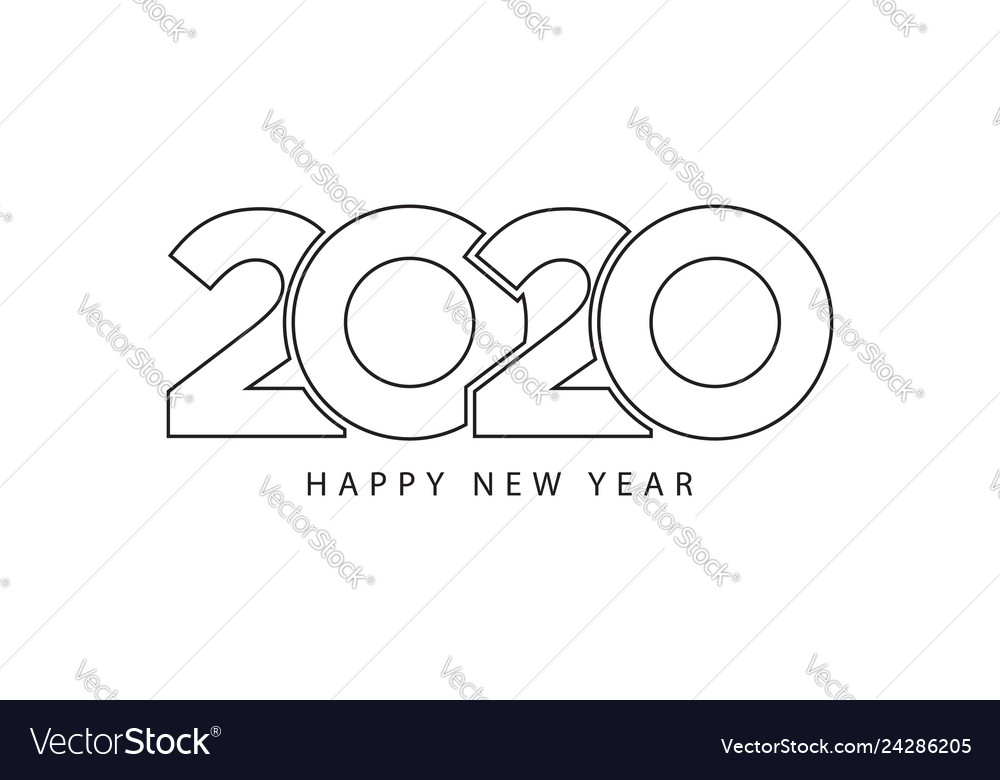 Simple style lines happy new year 2020 black