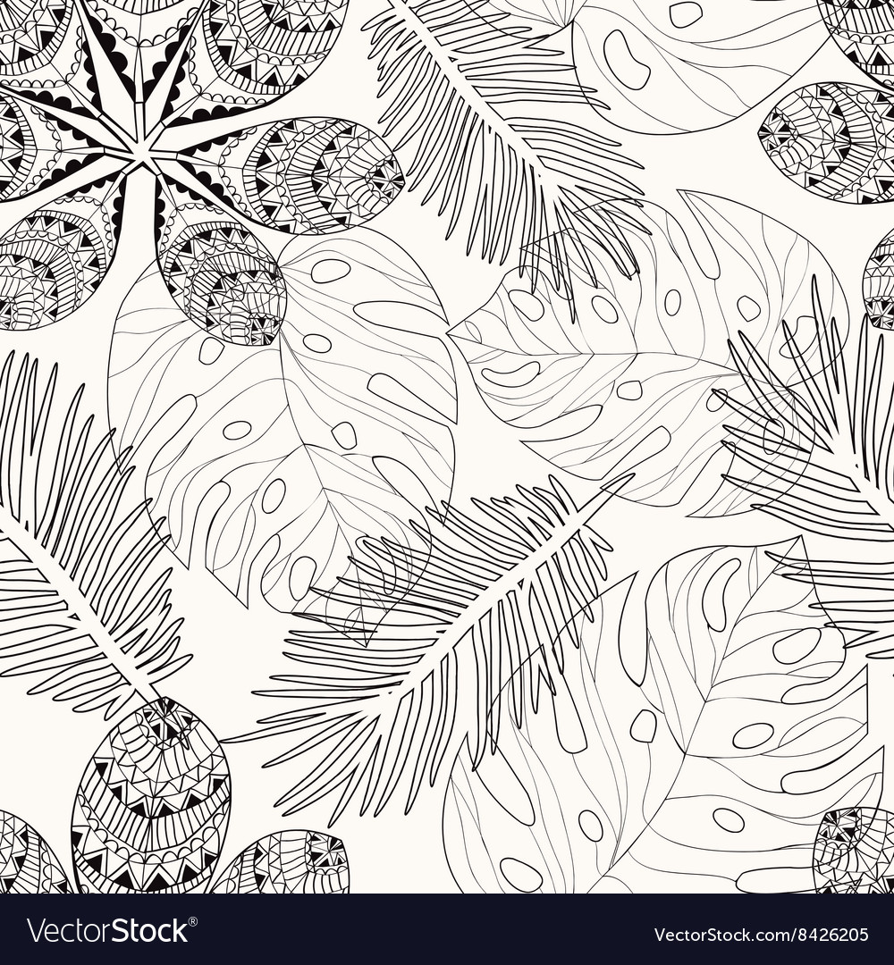 Tropical Leaves Hand Drawn Pattern Royalty Free Vector Image