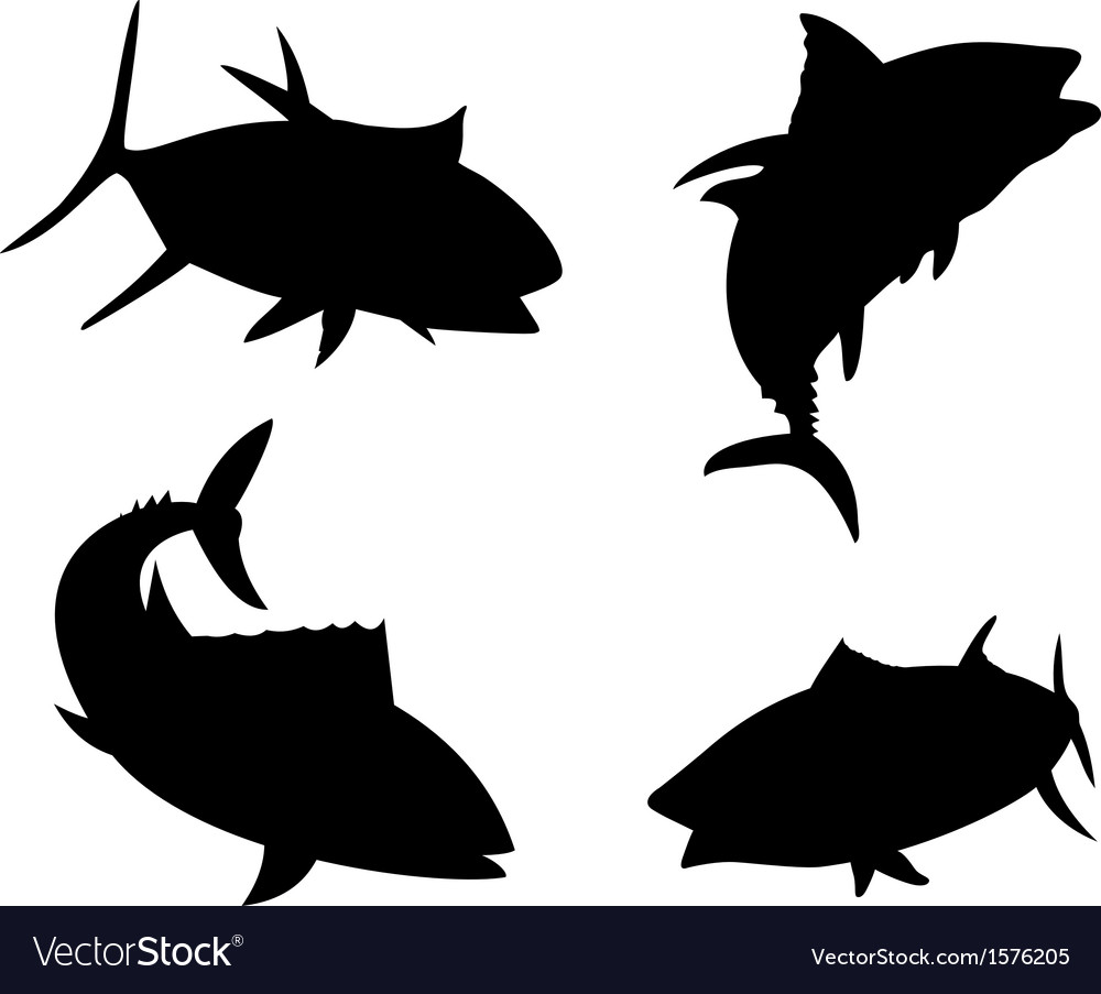 yellow fin tuna fish silhouette royalty free vector image
