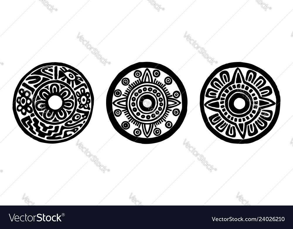 Ancient maya circle flowers