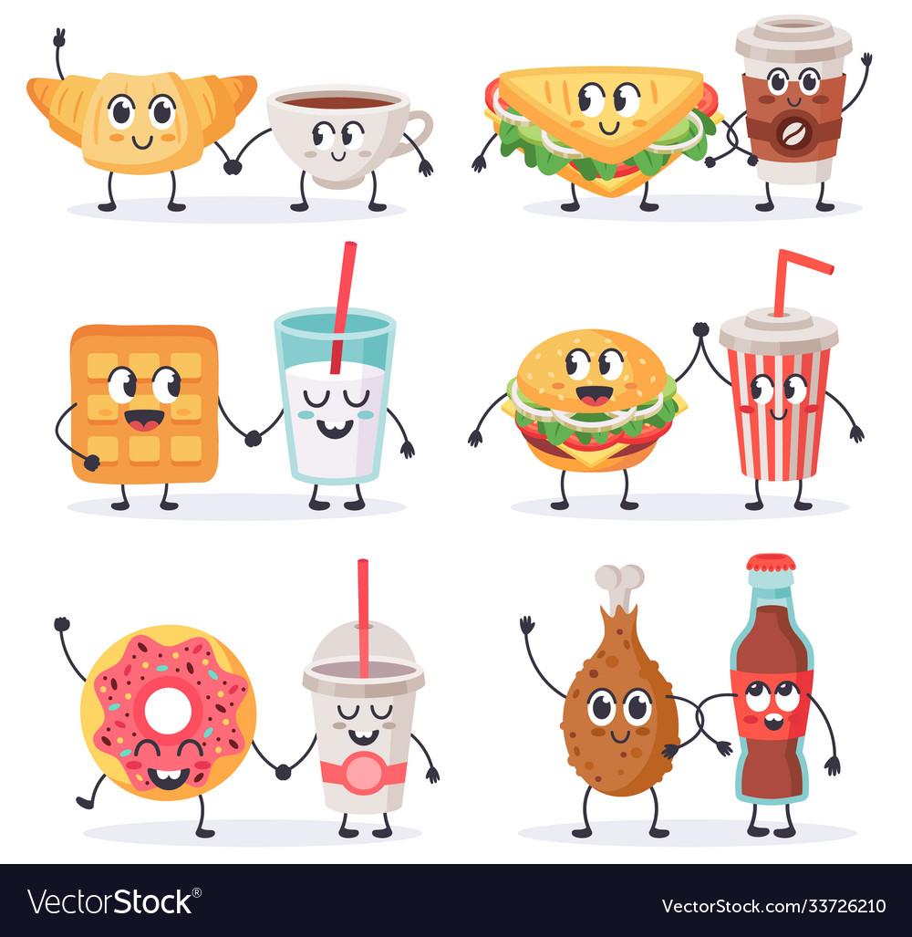 Cartoon food characters junk food mascots