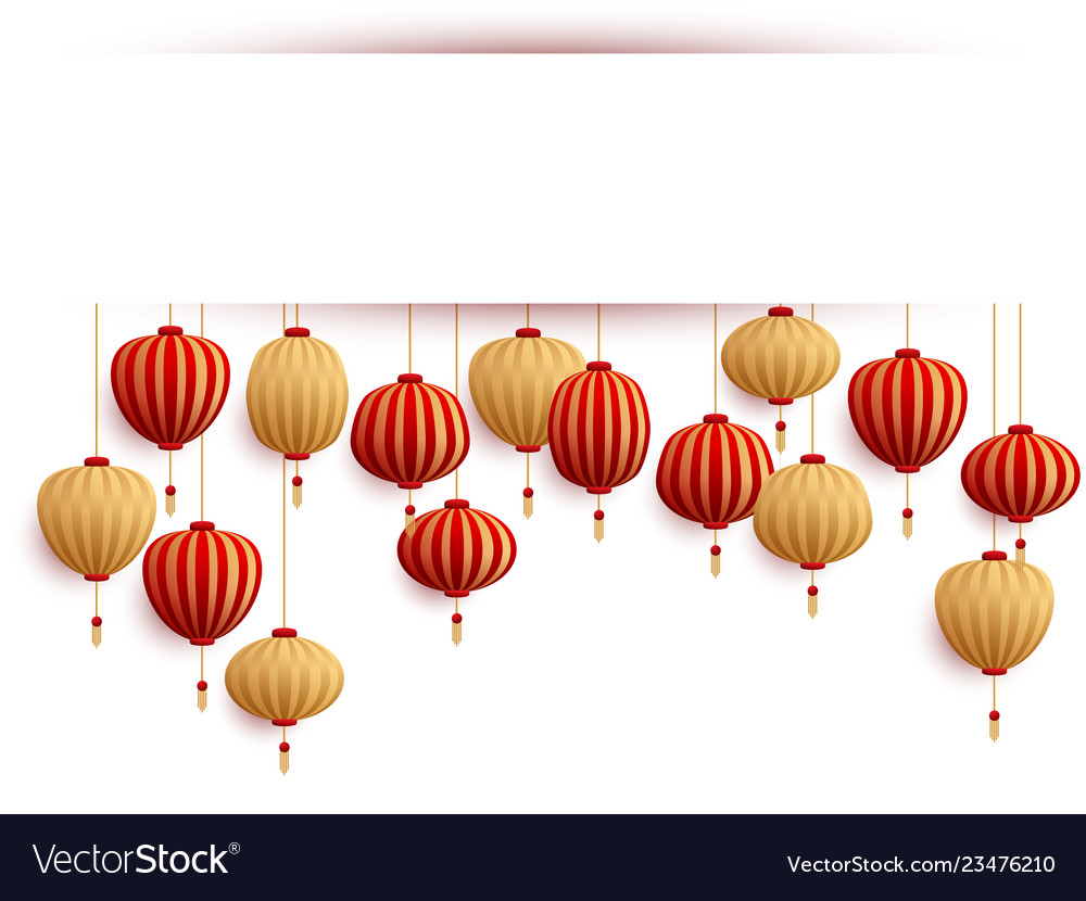Chinese Lanterns New Year Card Template Vector Image