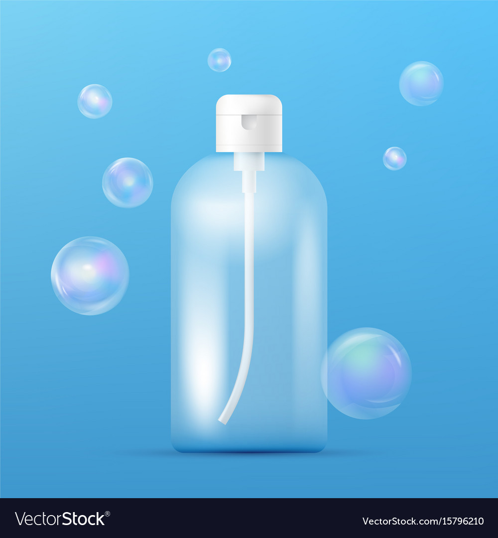 Clean plastic bottle template with dispenser for vector image