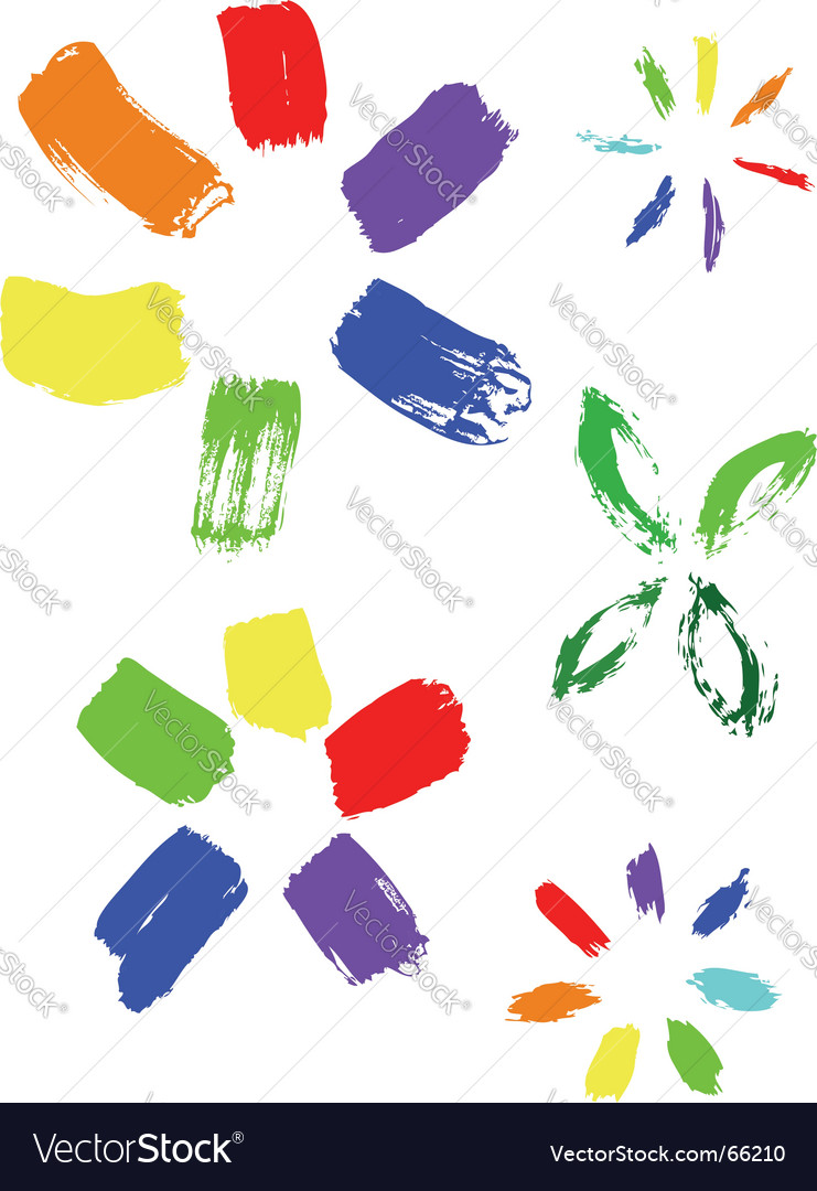 Collection of color ink effects vector image