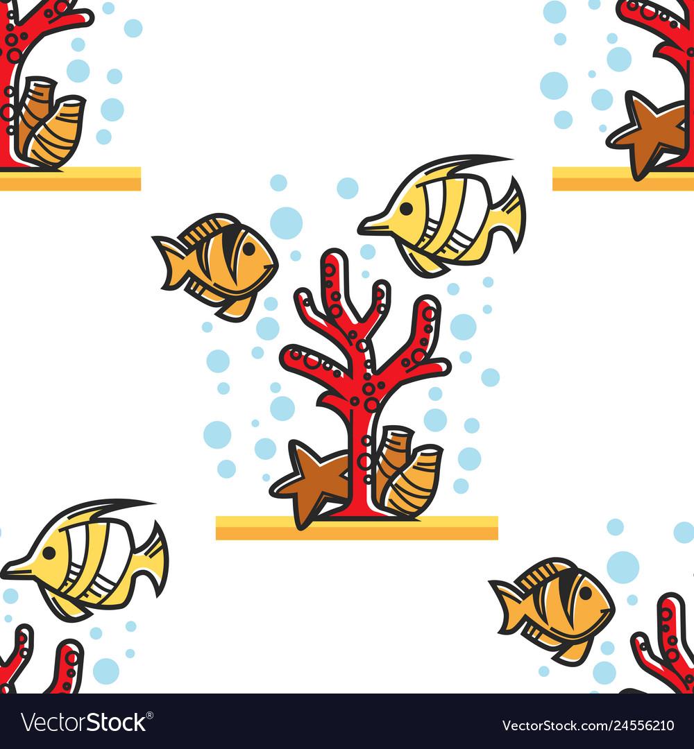 Coral reef egypt beach resort seamless pattern