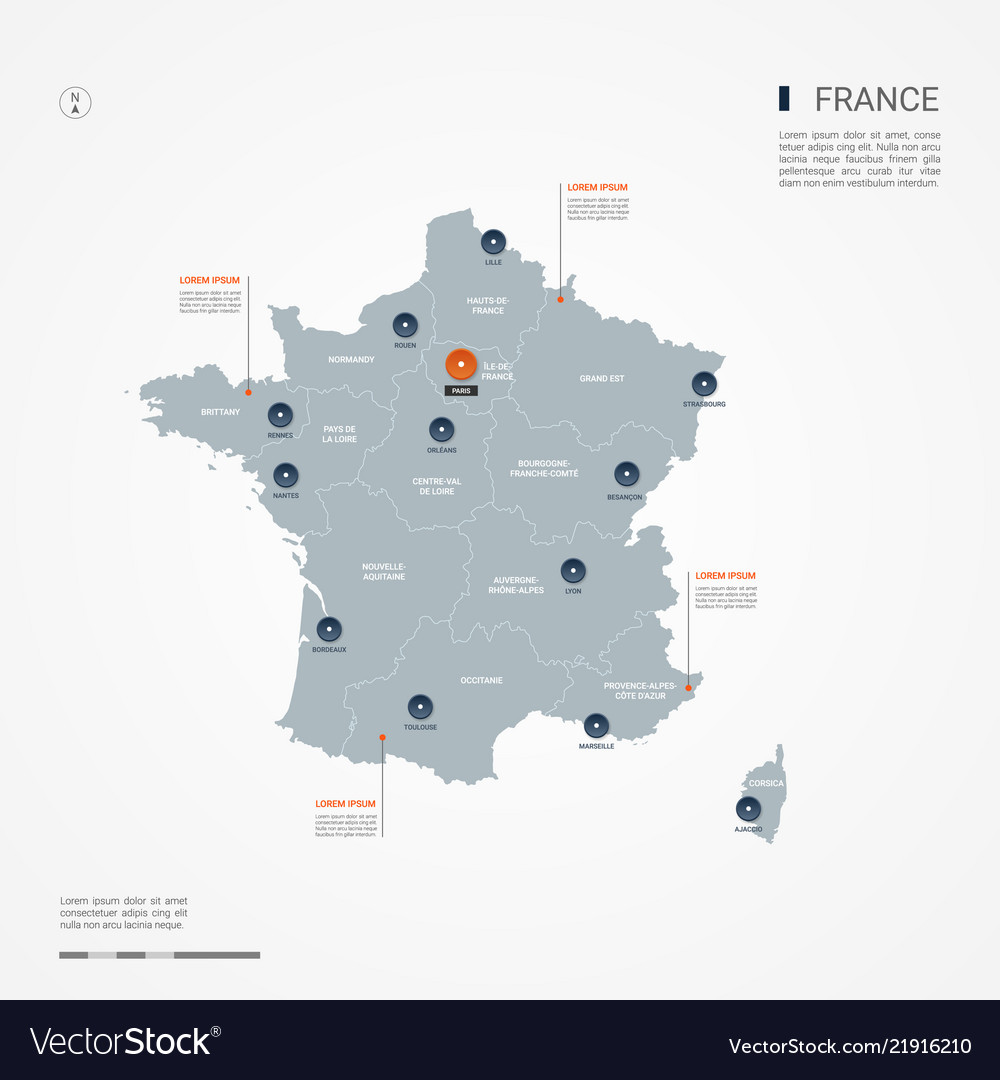 Labeled Map Of France.France Infographic Map