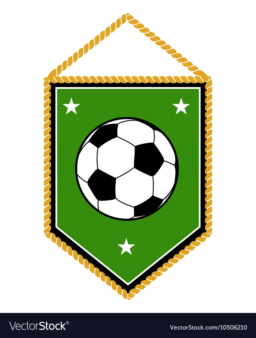 Green soccer pennant isolated white