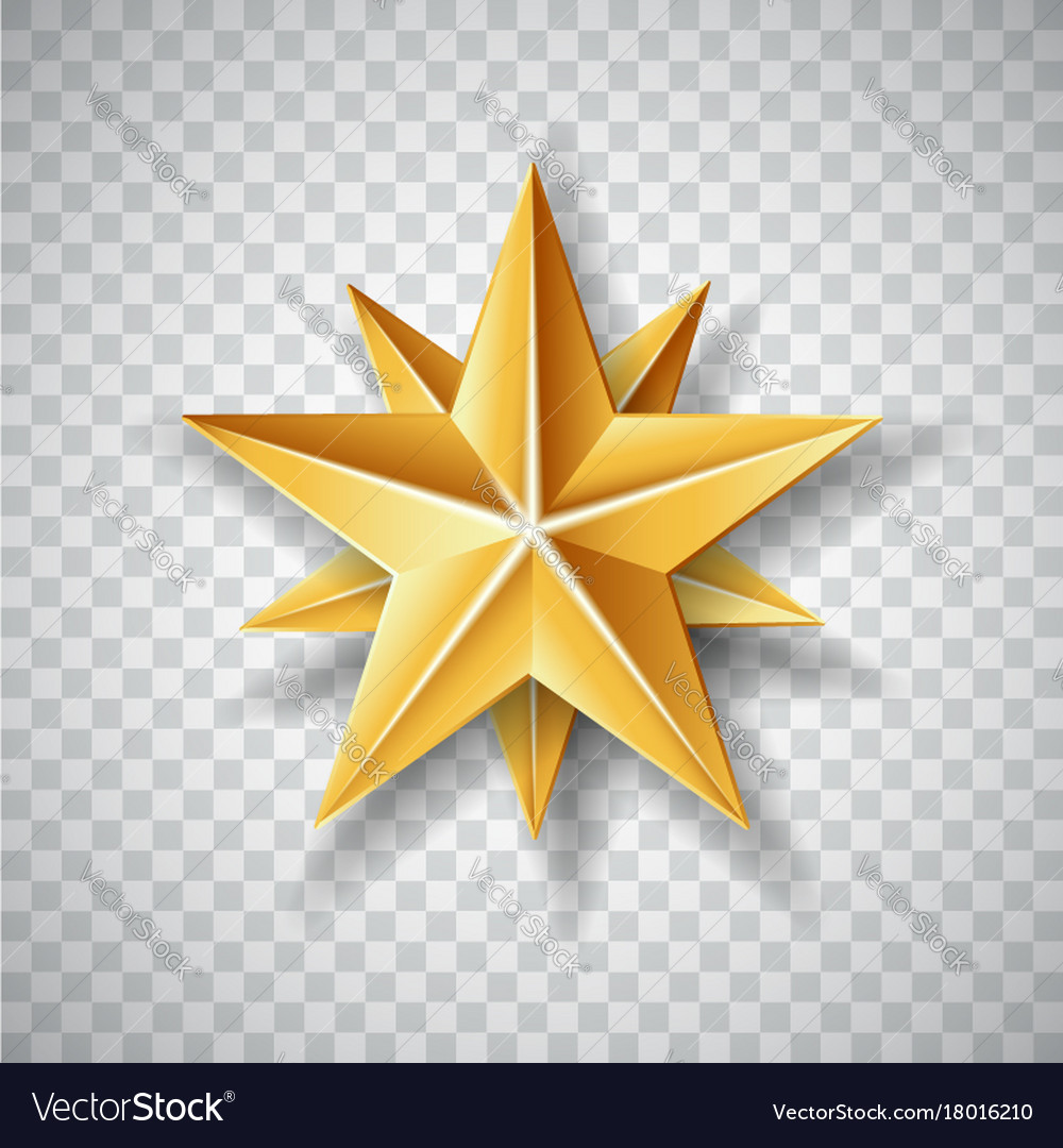 Isolated gold paper christmas star on transparent