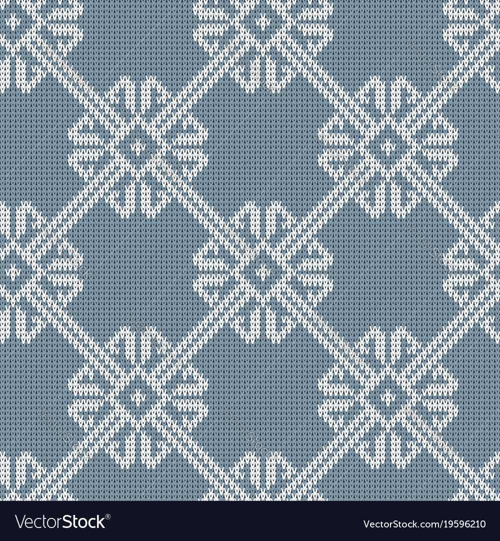 Norwegian knitted pattern in vintage blue color