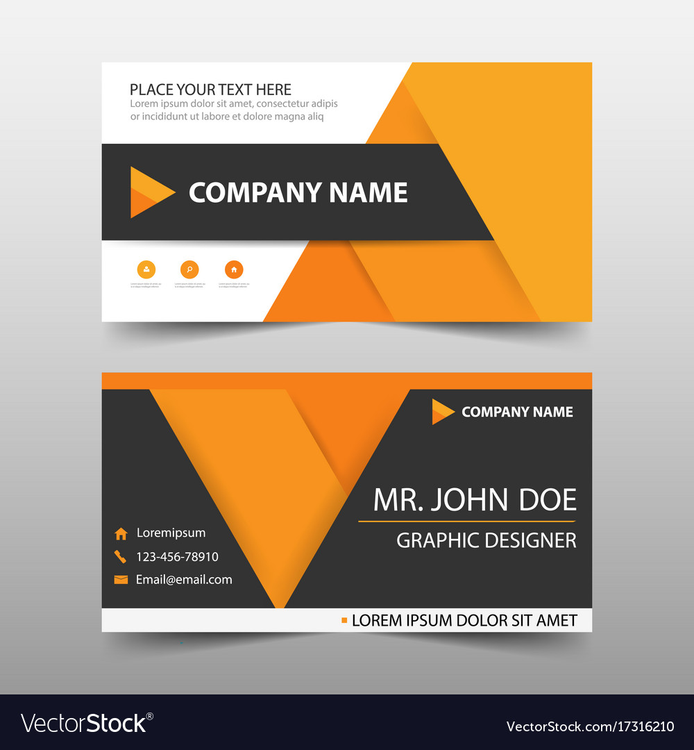 Orange corporate business card name card template vector image flashek