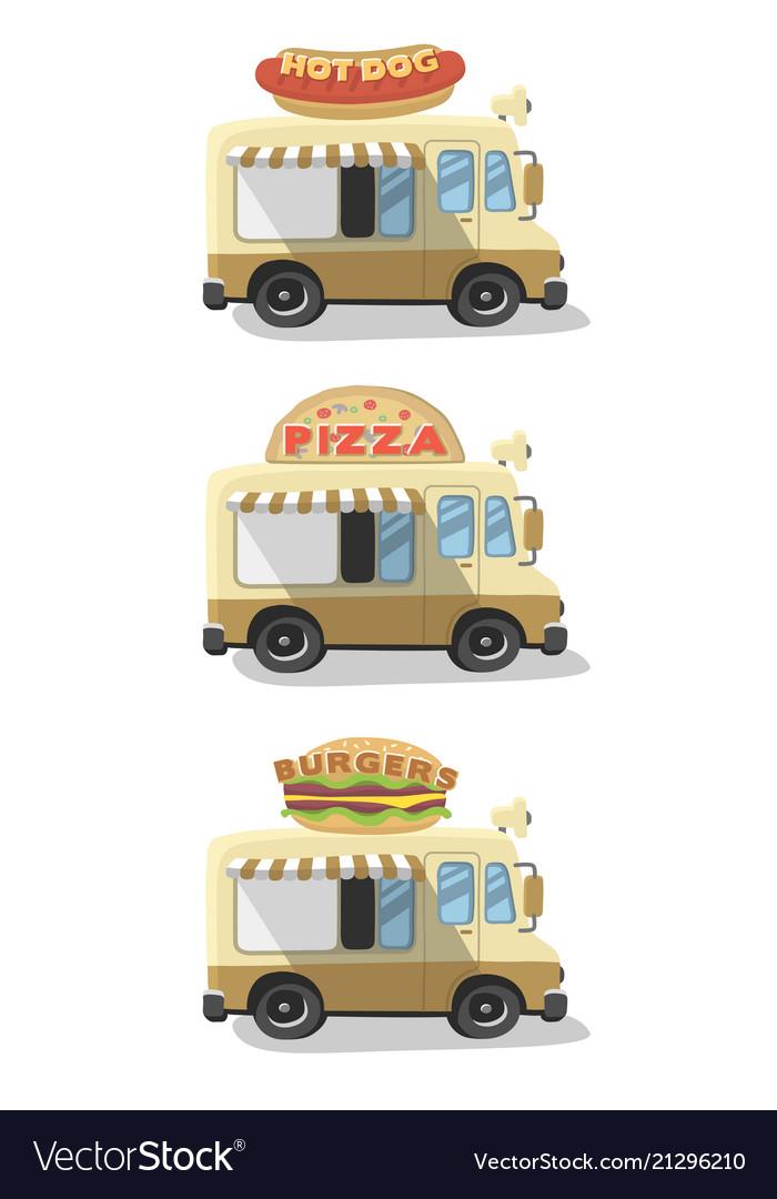 Set drawing food truck